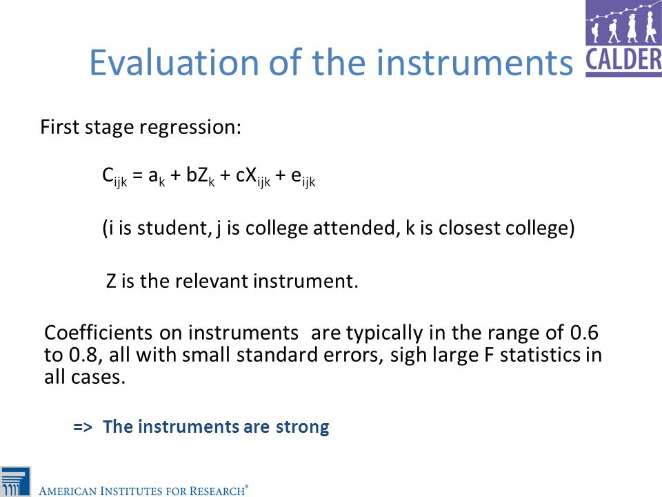 Evaluation of the instruments First stage regression: C ijk = a k + bZ k + cX ijk + e ijk (i is student, j is college attended, k is closest college) Z is the relevant instrument.