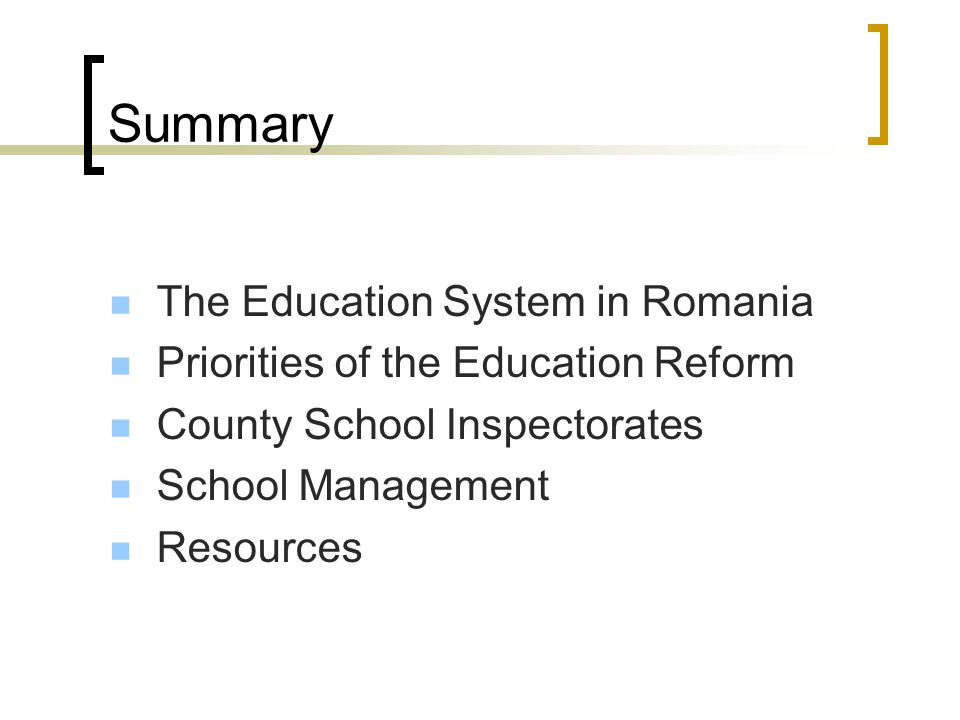 The main objectives of the Cluj County School Inspectorate To ensure coherence between the national strategy and local education process; To develop t