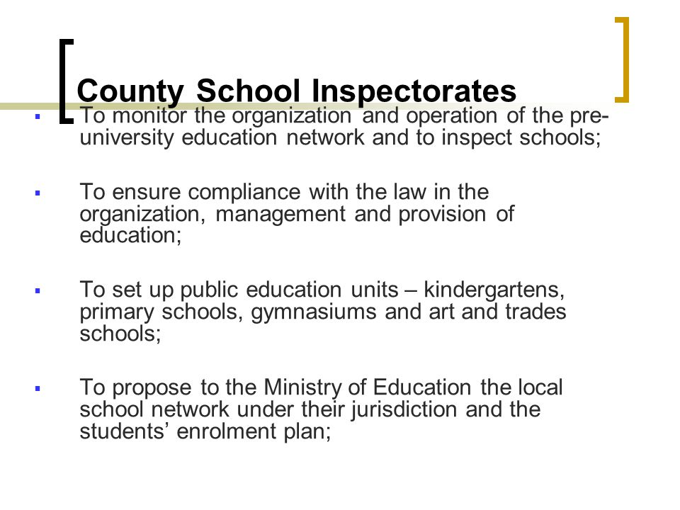 County School Inspectorates Deputy General Inspector Development & community