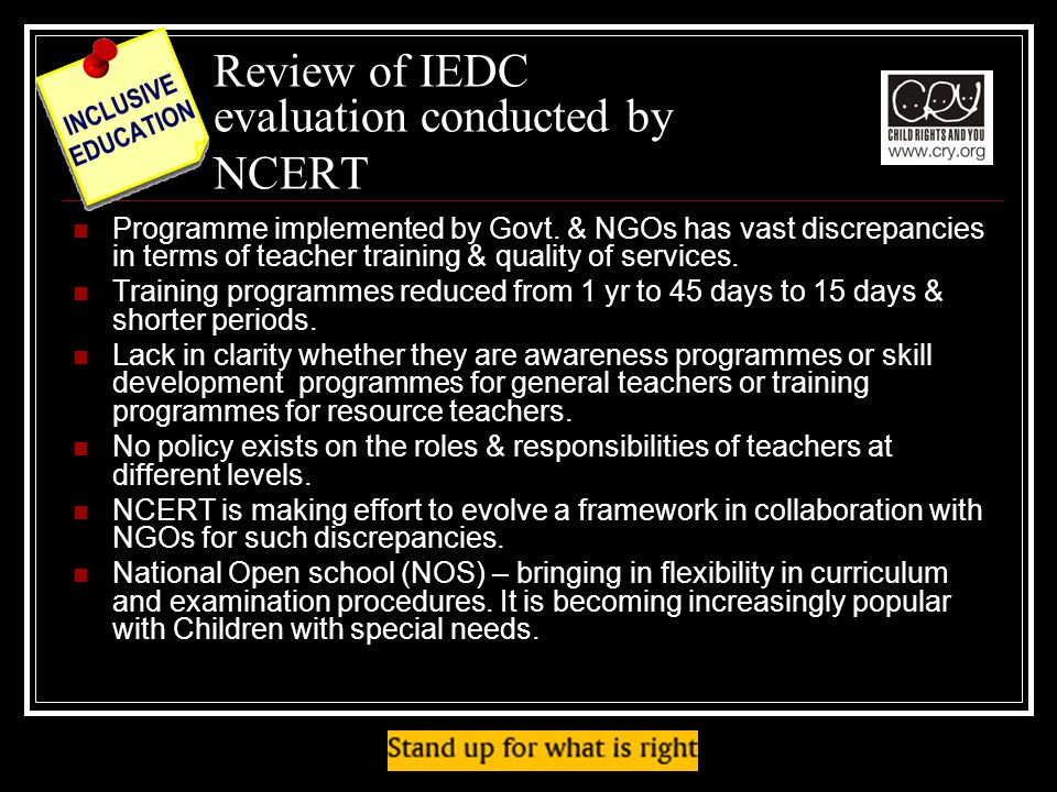 Review of IEDC evaluation conducted by NCERT Programme implemented by Govt.