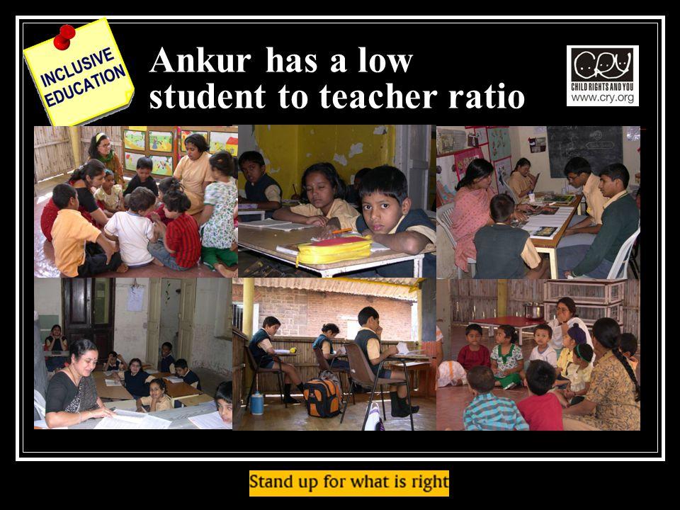 Ankur has a low student to teacher ratio