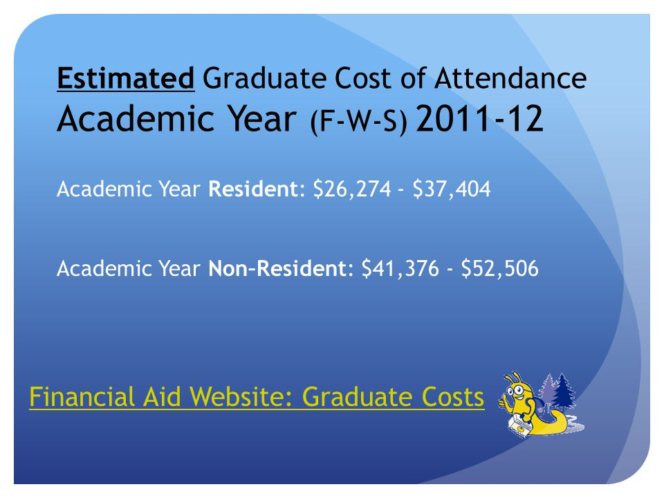 Estimated Graduate Cost of Attendance Academic Year (F-W-S) 2011-12 Financial Aid Website: Graduate Costs Academic Year Resident: $26,274 - $37,404 Academic Year Non–Resident: $41,376 - $52,506