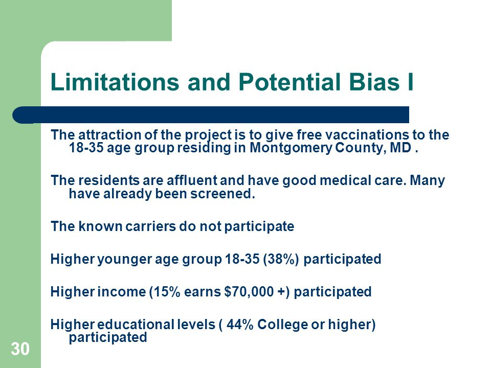 30 Limitations and Potential Bias I The attraction of the project is to give free vaccinations to the 18-35 age group residing in Montgomery County, MD.