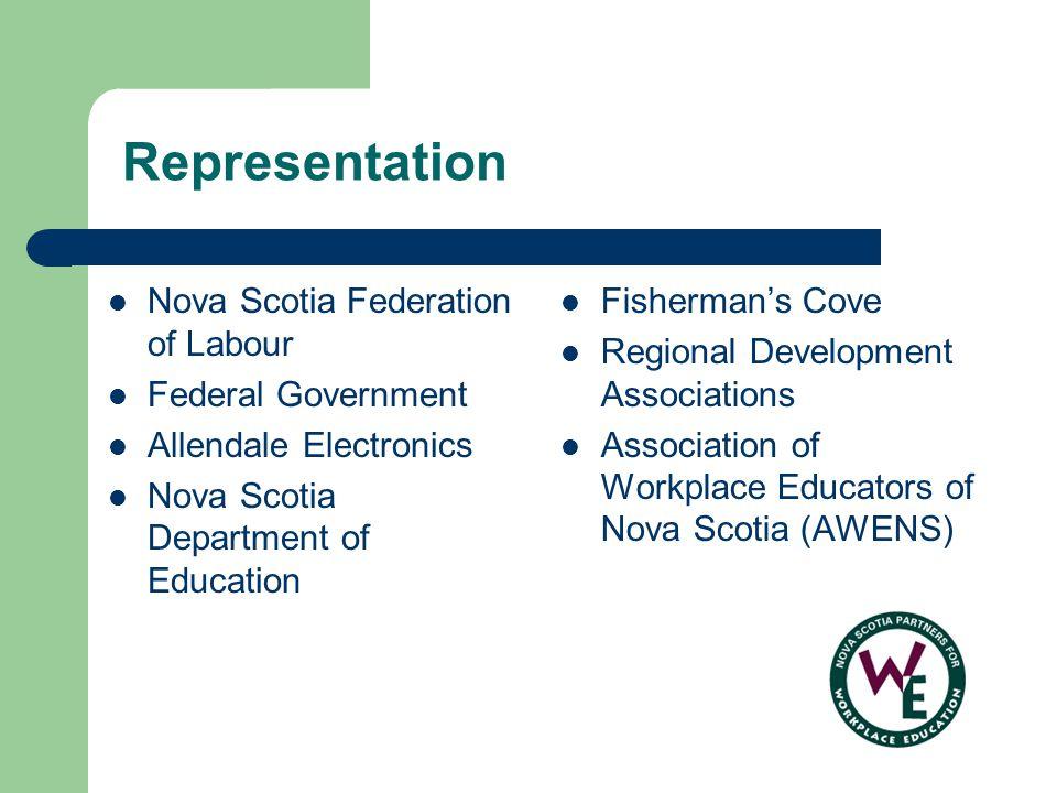 Representation Nova Scotia Federation of Labour Federal Government Allendale Electronics Nova Scotia Department of Education Fishermans Cove Regional Development Associations Association of Workplace Educators of Nova Scotia (AWENS)