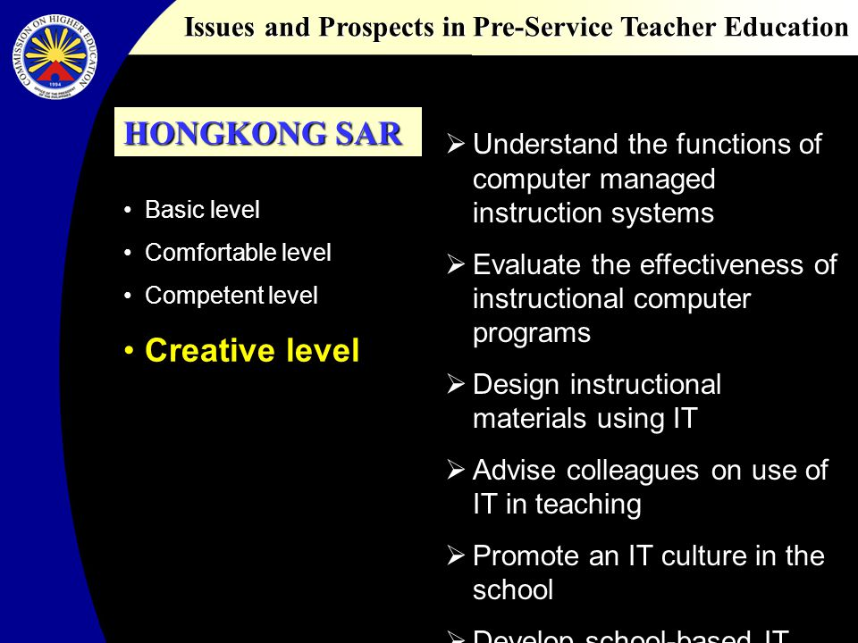 Issues and Prospects in Pre-Service Teacher Education Basic level Comfortable level Competent level Creative level Understand the functions of compute