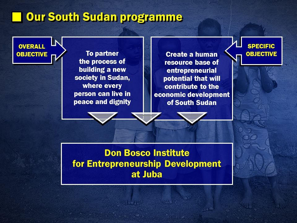 To partner the process of building a new society in Sudan, where every person can live in peace and dignity OVERALL OBJECTIVE OVERALL OBJECTIVE Our South Sudan programme Create a human resource base of entrepreneurial potential that will contribute to the economic development of South Sudan SPECIFIC OBJECTIVE SPECIFIC OBJECTIVE Don Bosco Institute for Entrepreneurship Development at Juba