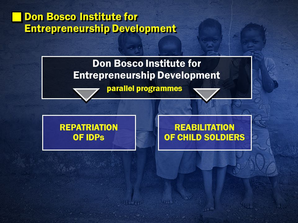 Don Bosco Institute for Entrepreneurship Development REPATRIATION OF IDPs REABILITATION OF CHILD SOLDIERS parallel programmes