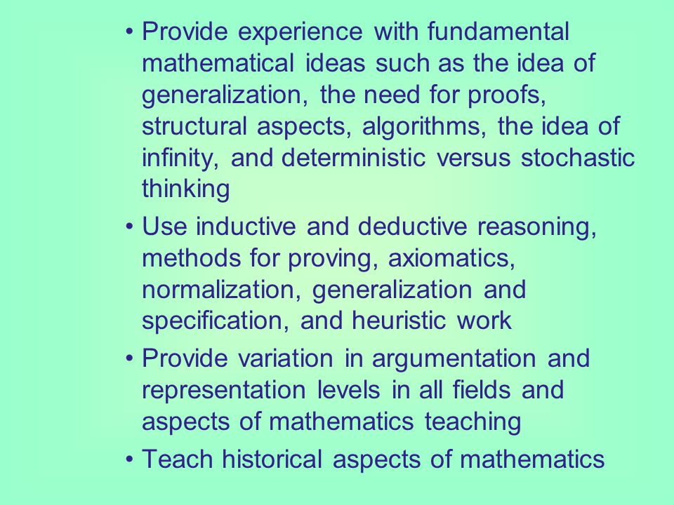 Current Issues in the Mathematics Curriculum (Pre PISA situation) Trends in the changes to the intended curriculum are new goals for mathe- matics teaching are to: present mathematics both as a theoretical study and as a tool for solving problems of application