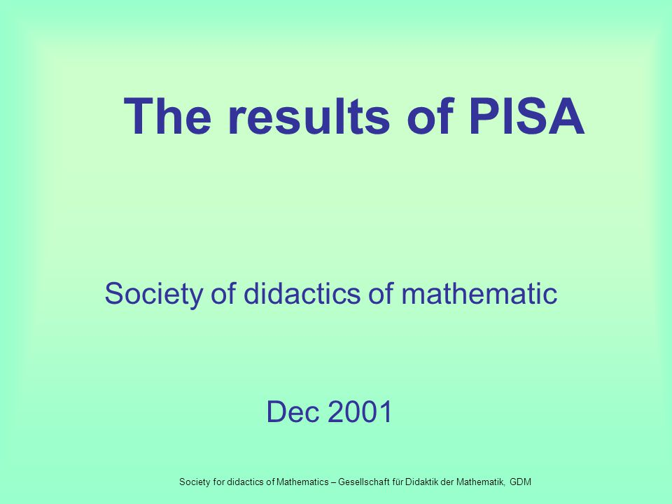 The result of empiric examinations – such as TIMSS and PISA- do not give essential knowledge about success and situation of mathematic studies. They c