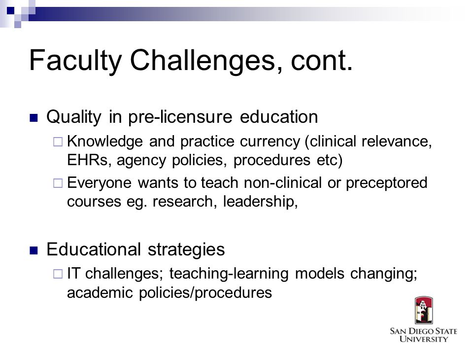 Faculty Challenges, cont.