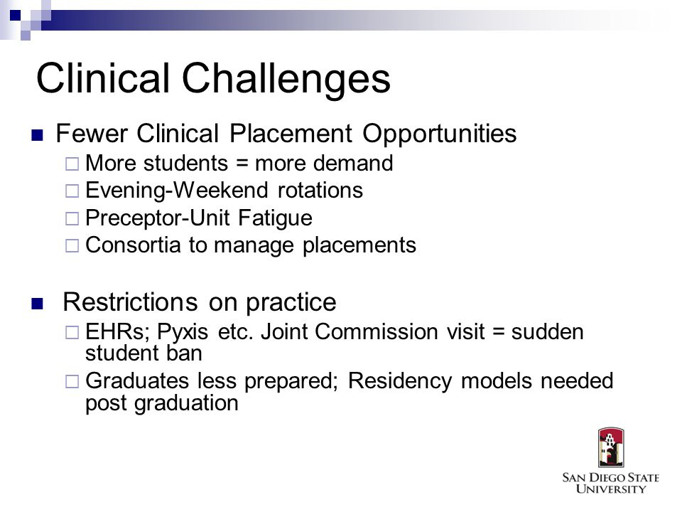 Clinical Challenges Fewer Clinical Placement Opportunities More students = more demand Evening-Weekend rotations Preceptor-Unit Fatigue Consortia to manage placements Restrictions on practice EHRs; Pyxis etc.
