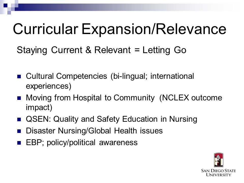 Curricular Expansion/Relevance Staying Current & Relevant = Letting Go Cultural Competencies (bi-lingual; international experiences) Moving from Hospital to Community (NCLEX outcome impact) QSEN: Quality and Safety Education in Nursing Disaster Nursing/Global Health issues EBP; policy/political awareness