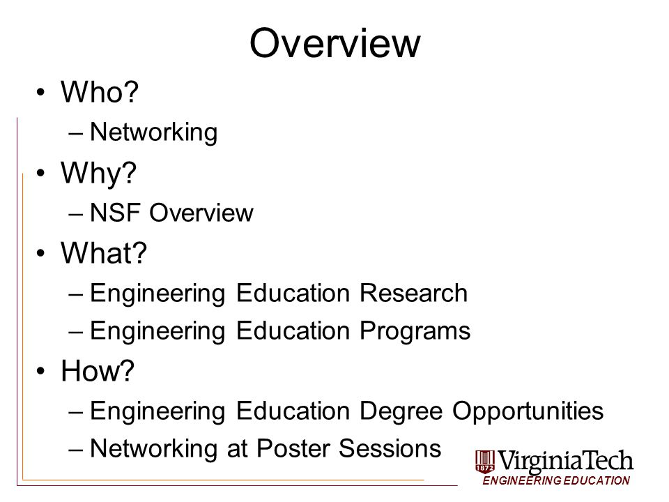 ENGINEERING EDUCATION University of Clemson: Engineering and Science Education Certificate in Engineering & Science Education Lots of ENG departments are working with the ESE department to grant education-based research projects PhD coming January 2011 http://www.clemson.edu/ese/