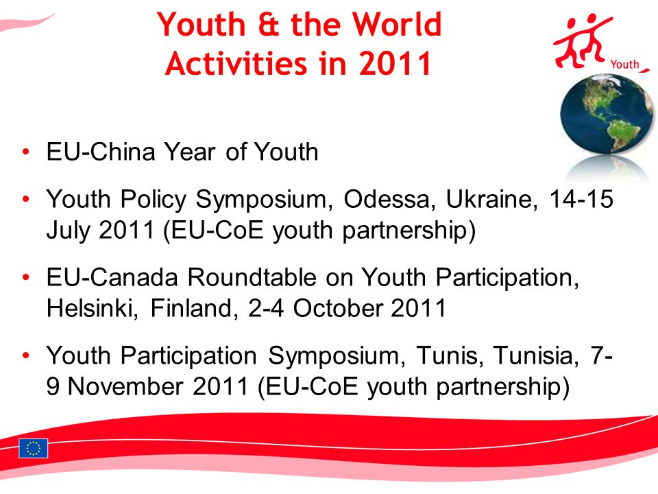 12 EU-China Year of Youth Youth Policy Symposium, Odessa, Ukraine, 14-15 July 2011 (EU-CoE youth partnership) EU-Canada Roundtable on Youth Participat