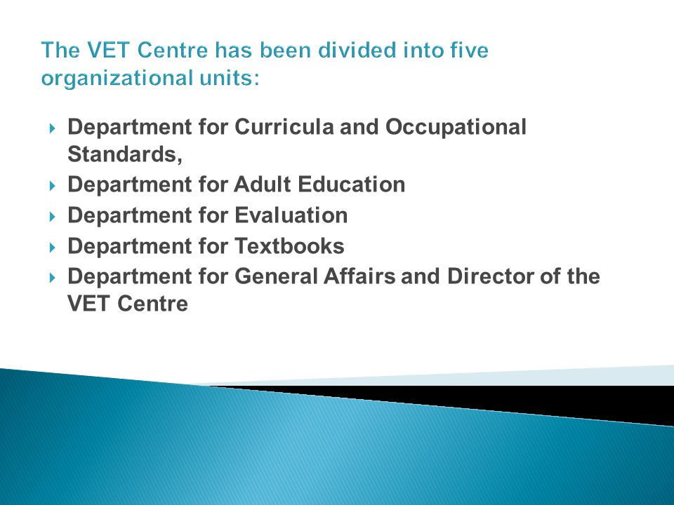 The VET Centre has been divided into five organizational units: Department for Curricula and Occupational Standards, Department for Adult Education Department for Evaluation Department for Textbooks Department for General Affairs and Director of the VET Centre