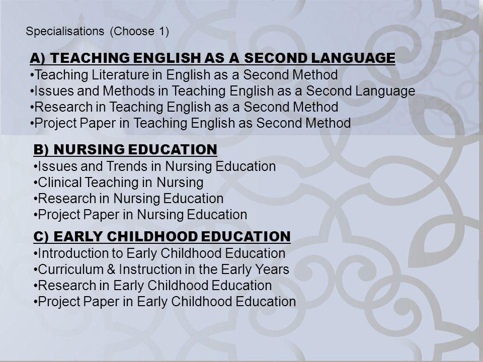 A) TEACHING ENGLISH AS A SECOND LANGUAGE Teaching Literature in English as a Second Method Issues and Methods in Teaching English as a Second Language