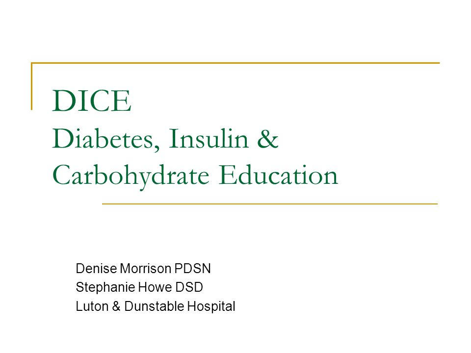 DICE Diabetes, Insulin & Carbohydrate Education Denise Morrison PDSN Stephanie Howe DSD Luton & Dunstable Hospital