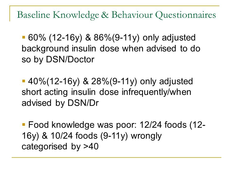 Baseline Knowledge & Behaviour Questionnaires 60% (12-16y) & 86%(9-11y) only adjusted background insulin dose when advised to do so by DSN/Doctor 40%(12-16y) & 28%(9-11y) only adjusted short acting insulin dose infrequently/when advised by DSN/Dr Food knowledge was poor: 12/24 foods (12- 16y) & 10/24 foods (9-11y) wrongly categorised by >40