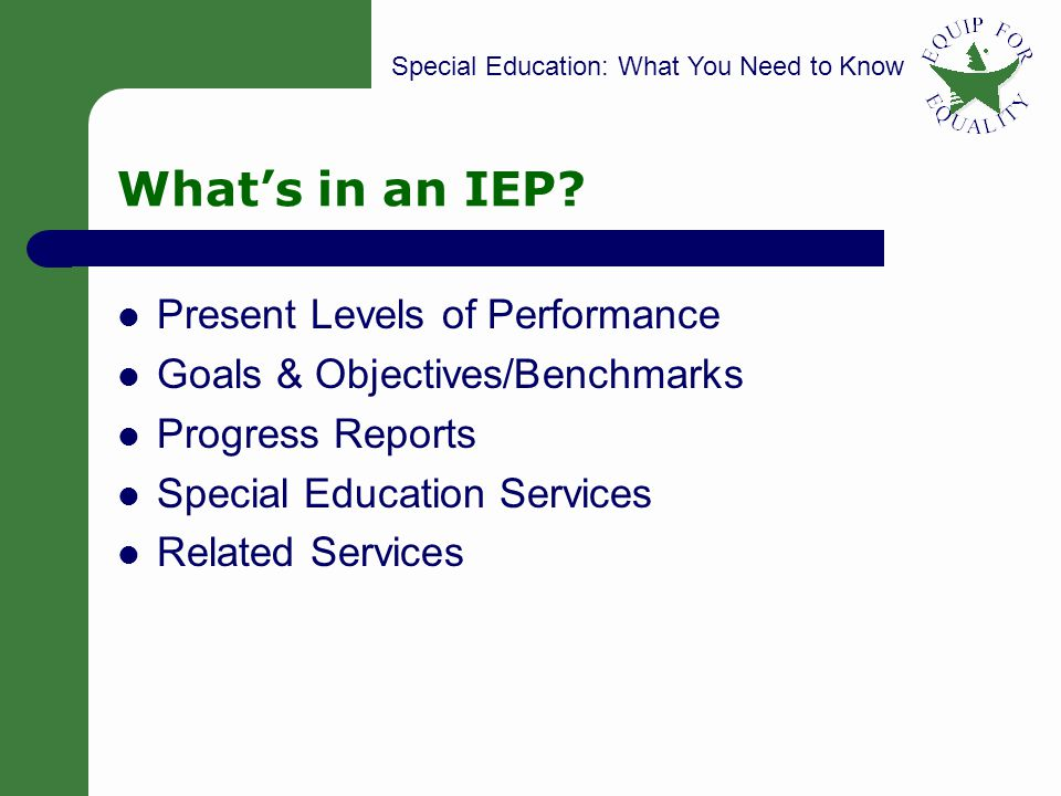 Special Education: What You Need to Know 13 Whats in an IEP.