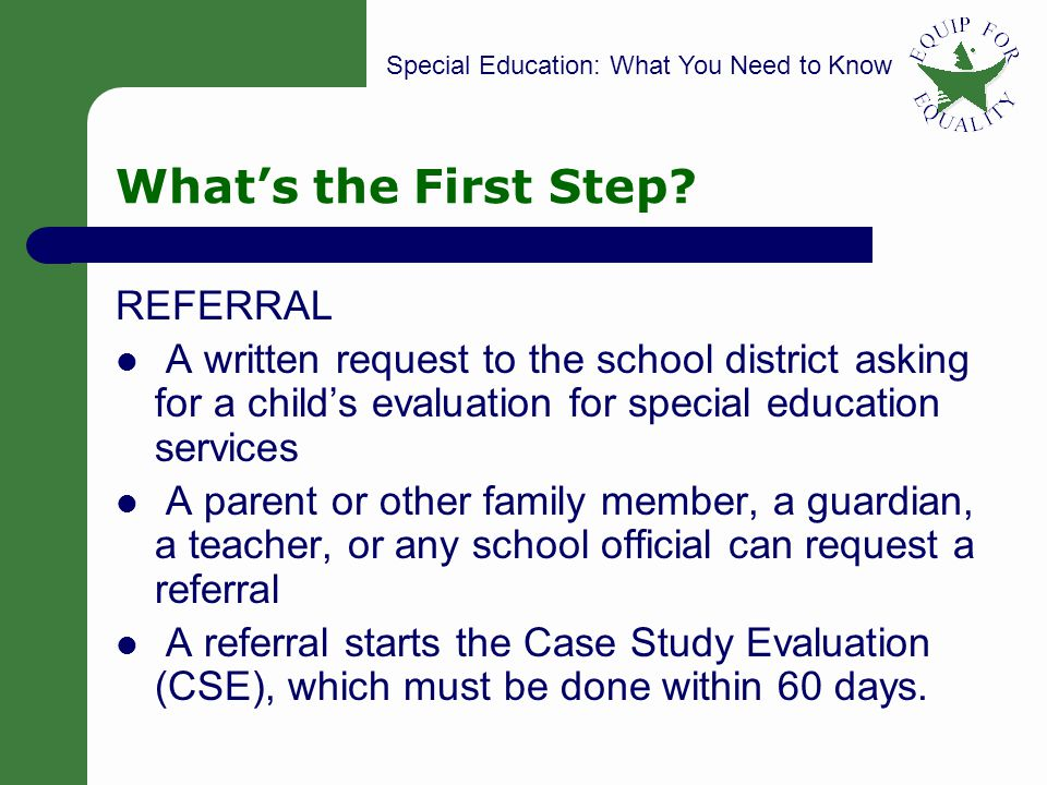 Special Education: What You Need to Know 8 Whats the First Step.