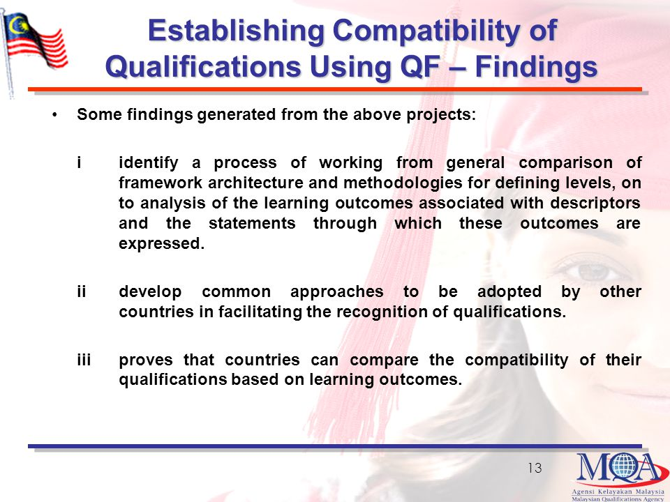 Establishing Compatibility of Qualifications Using QF – Findings Some findings generated from the above projects: iidentify a process of working from general comparison of framework architecture and methodologies for defining levels, on to analysis of the learning outcomes associated with descriptors and the statements through which these outcomes are expressed.