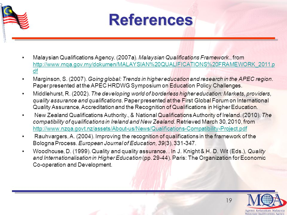 References Malaysian Qualifications Agency.(2007a).