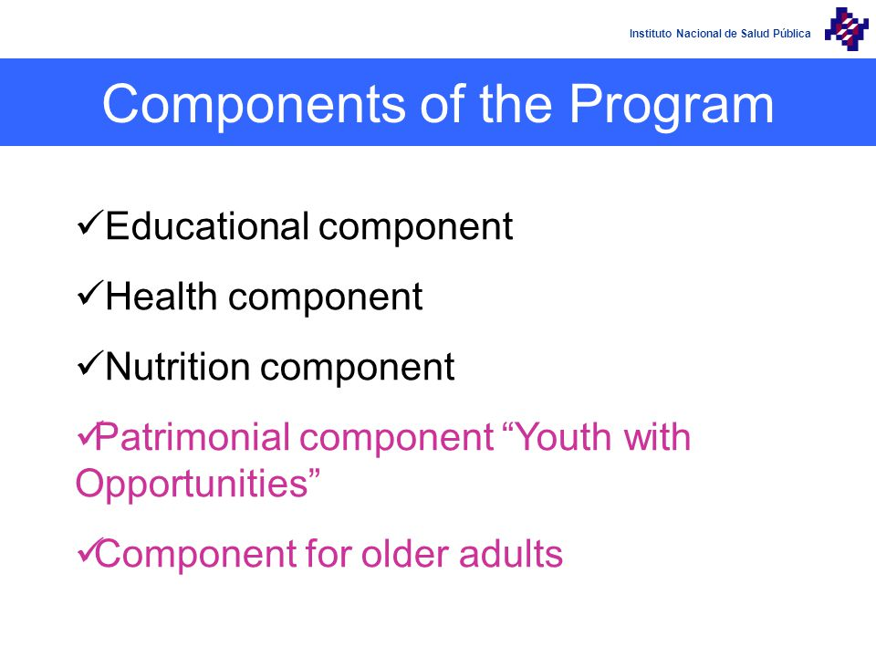 Instituto Nacional de Salud Pública Educational component Health component Nutrition component Patrimonial component Youth with Opportunities Component for older adults Components of the Program