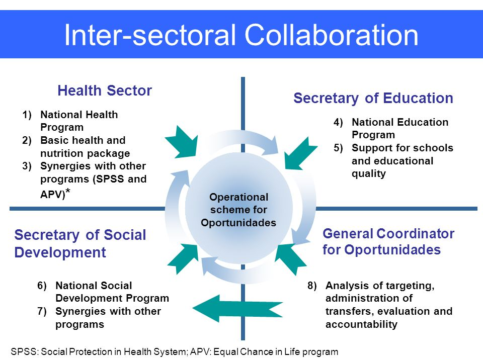 Secretary of Education Health Sector Secretary of Social Development Operational scheme for Oportunidades 1)National Health Program 2)Basic health and nutrition package 3)Synergies with other programs (SPSS and APV) * 4)National Education Program 5)Support for schools and educational quality 6)National Social Development Program 7)Synergies with other programs 8)Analysis of targeting, administration of transfers, evaluation and accountability General Coordinator for Oportunidades Inter-sectoral Collaboration SPSS: Social Protection in Health System; APV: Equal Chance in Life program