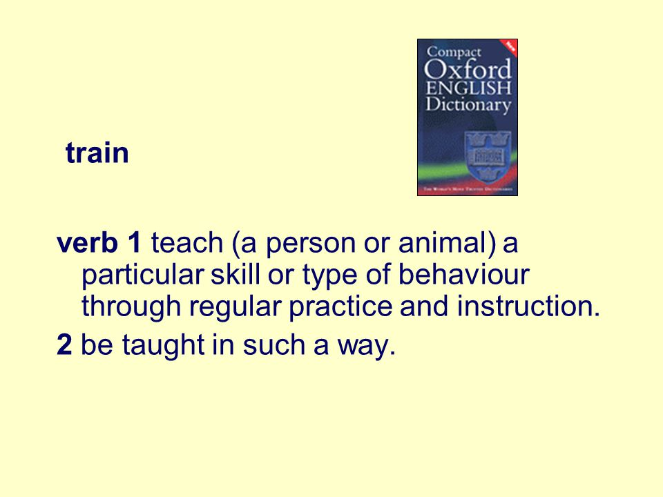 train verb 1 teach (a person or animal) a particular skill or type of behaviour through regular practice and instruction. 2 be taught in such a way.