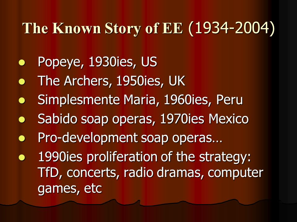 The Known Story of EE (1934-2004) Popeye, 1930ies, US Popeye, 1930ies, US The Archers, 1950ies, UK The Archers, 1950ies, UK Simplesmente Maria, 1960ies, Peru Simplesmente Maria, 1960ies, Peru Sabido soap operas, 1970ies Mexico Sabido soap operas, 1970ies Mexico Pro-development soap operas… Pro-development soap operas… 1990ies proliferation of the strategy: TfD, concerts, radio dramas, computer games, etc 1990ies proliferation of the strategy: TfD, concerts, radio dramas, computer games, etc