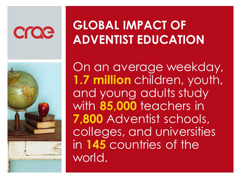 GLOBAL IMPACT OF ADVENTIST EDUCATION On an average weekday, 1.7 million children, youth, and young adults study with 85,000 teachers in 7,800 Adventist schools, colleges, and universities in 145 countries of the world.