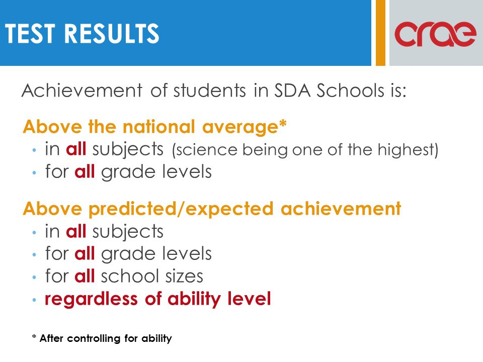 Above the national average* in all subjects (science being one of the highest) for all grade levels Above predicted/expected achievement in all subjec
