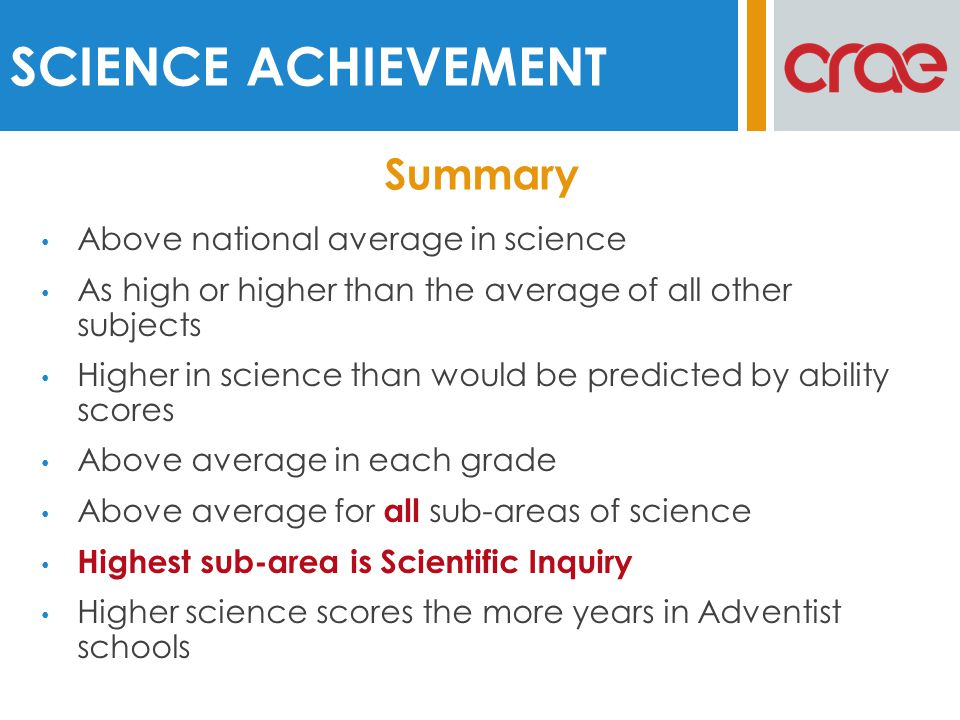 Above national average in science As high or higher than the average of all other subjects Higher in science than would be predicted by ability scores