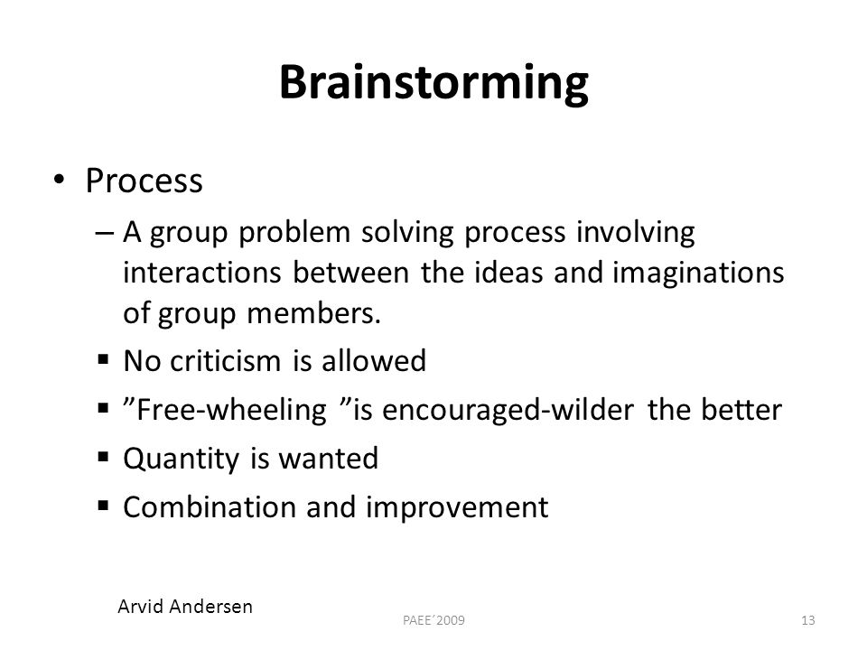 Brainstorming Process – A group problem solving process involving interactions between the ideas and imaginations of group members.
