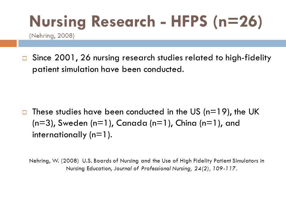 Nursing Research - HFPS (n=26) (Nehring, 2008) Since 2001, 26 nursing research studies related to high-fidelity patient simulation have been conducted