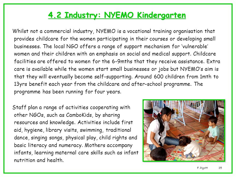 F. Pigott35 4.2 Industry: NYEMO Kindergarten Whilst not a commercial industry, NYEMO is a vocational training organisation that provides childcare for