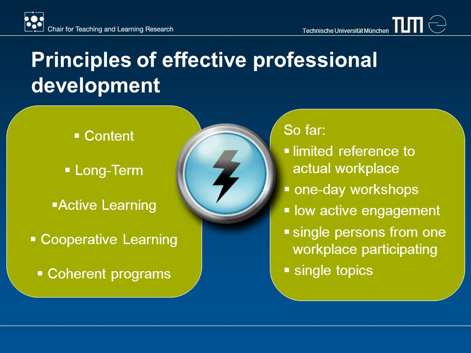 Technische Universität München Principles of effective professional development Content Long-Term Active Learning Cooperative Learning Coherent programs So far: limited reference to actual workplace one-day workshops low active engagement single persons from one workplace participating single topics