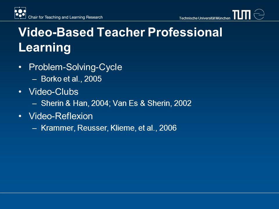 Technische Universität München Video-Based Teacher Professional Learning Problem-Solving-Cycle –Borko et al., 2005 Video-Clubs –Sherin & Han, 2004; Van Es & Sherin, 2002 Video-Reflexion –Krammer, Reusser, Klieme, et al., 2006