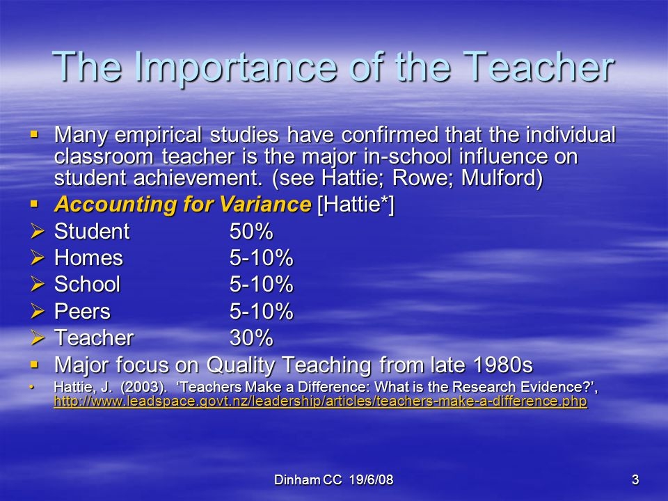 Dinham CC 19/6/083 The Importance of the Teacher Many empirical studies have confirmed that the individual classroom teacher is the major in-school in