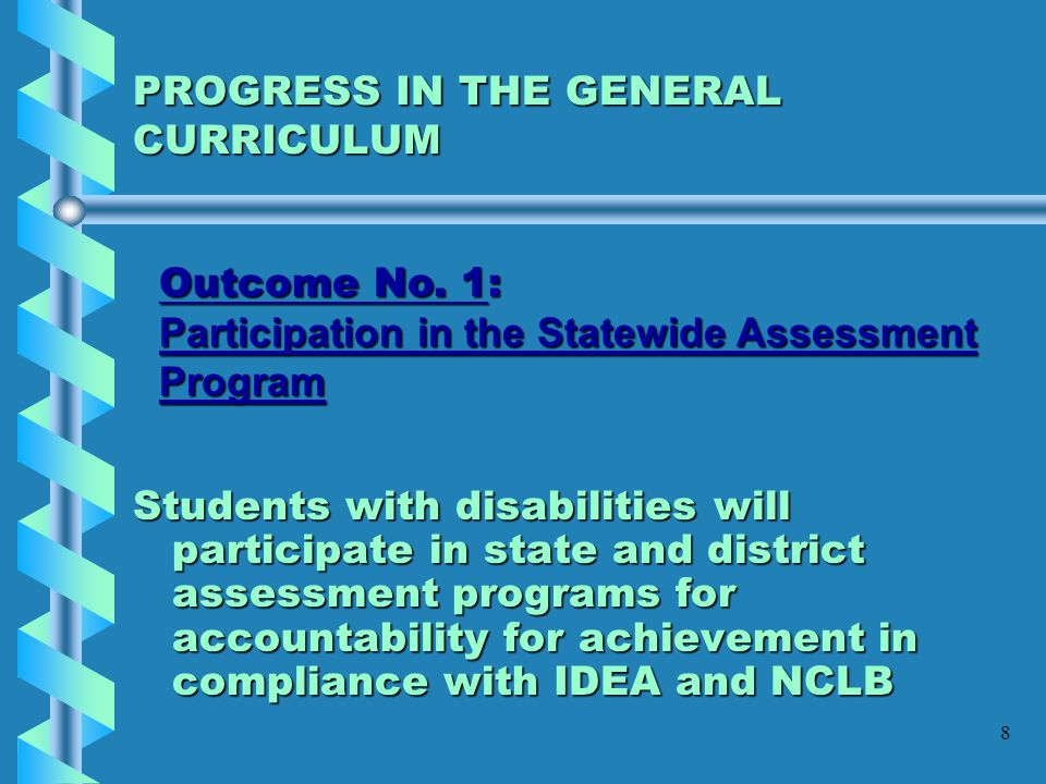 49 OUTCOME #6 Placement of Students with Disabilities (ages 6-22) with eligibilities of Specific Learning Disabilities (SLD) and Language/Speech Impaired (SLI): By the end of the 2005-2006 school year, the District will demonstrate a ratio of not less than 73% of students placed in the combined categories of 0-20% and 21- 60% and not more than 23% of students placed in the 61-100% category according to Federal placement reporting requirements 2003-2004 BENCHMARK: 63% of students with disabilities will not exceed 60% of their instructional day outside of the general education classroom.