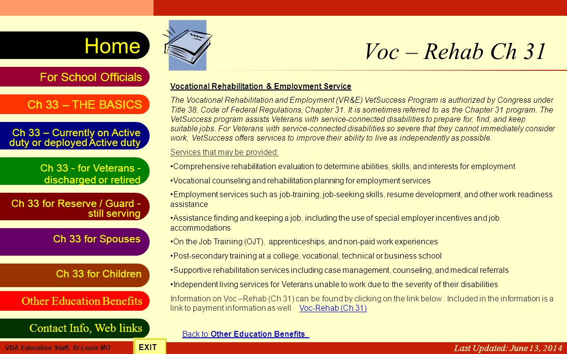 VA Education Benefits Resource Tool Other Education Benefits Ch 33 for Spouses Contact Info, Web links For School Officials Home Ch 33 - for Veterans
