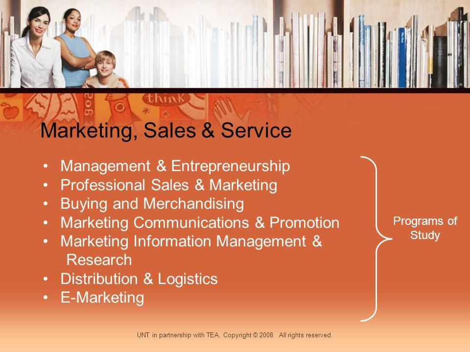 Marketing, Sales & Service Management & Entrepreneurship Professional Sales & Marketing Buying and Merchandising Marketing Communications & Promotion