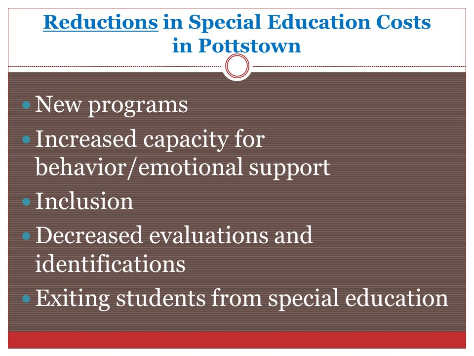 Reductions in Special Education Costs in Pottstown New programs Increased capacity for behavior/emotional support Inclusion Decreased evaluations and identifications Exiting students from special education