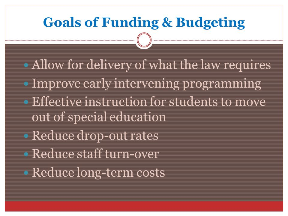 Goals of Funding & Budgeting Allow for delivery of what the law requires Improve early intervening programming Effective instruction for students to move out of special education Reduce drop-out rates Reduce staff turn-over Reduce long-term costs