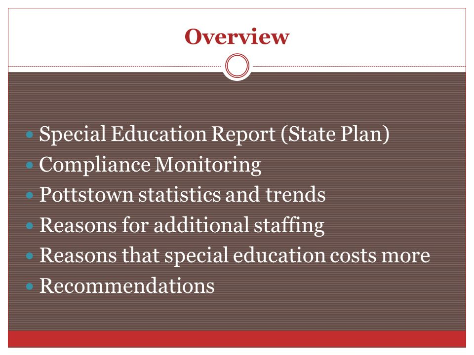 Overview Special Education Report (State Plan) Compliance Monitoring Pottstown statistics and trends Reasons for additional staffing Reasons that special education costs more Recommendations