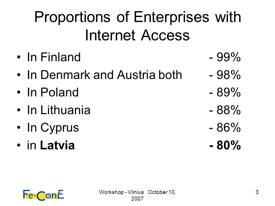 Workshop - Vilnius October 10, 2007 24 Final conclusion The penetration of (broadband) internet connections at households are the weakest within Europe.