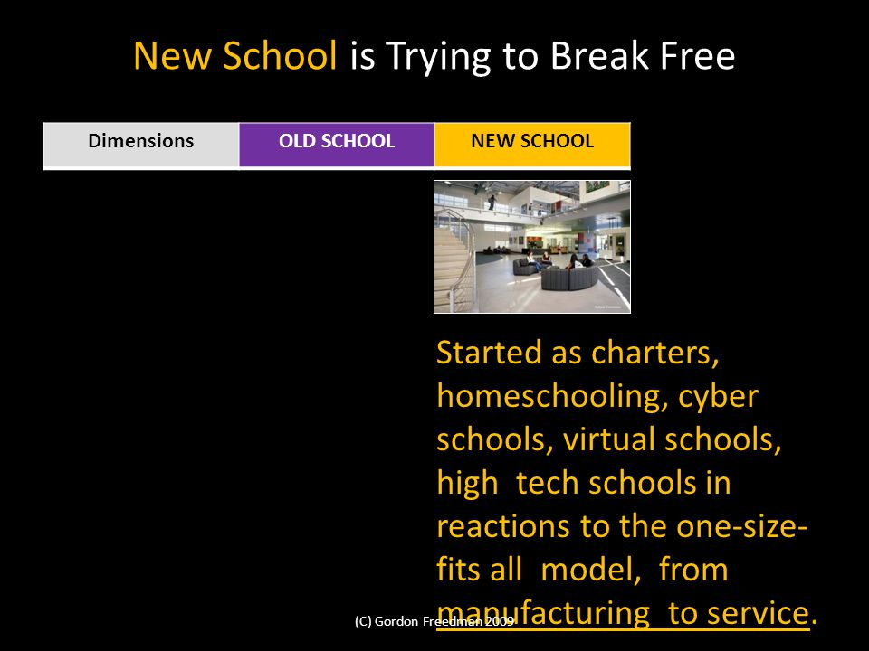New School is Trying to Break Free DimensionsOLD SCHOOLNEW SCHOOL Started as charters, homeschooling, cyber schools, virtual schools, high tech schools in reactions to the one-size- fits all model, from manufacturing to service.