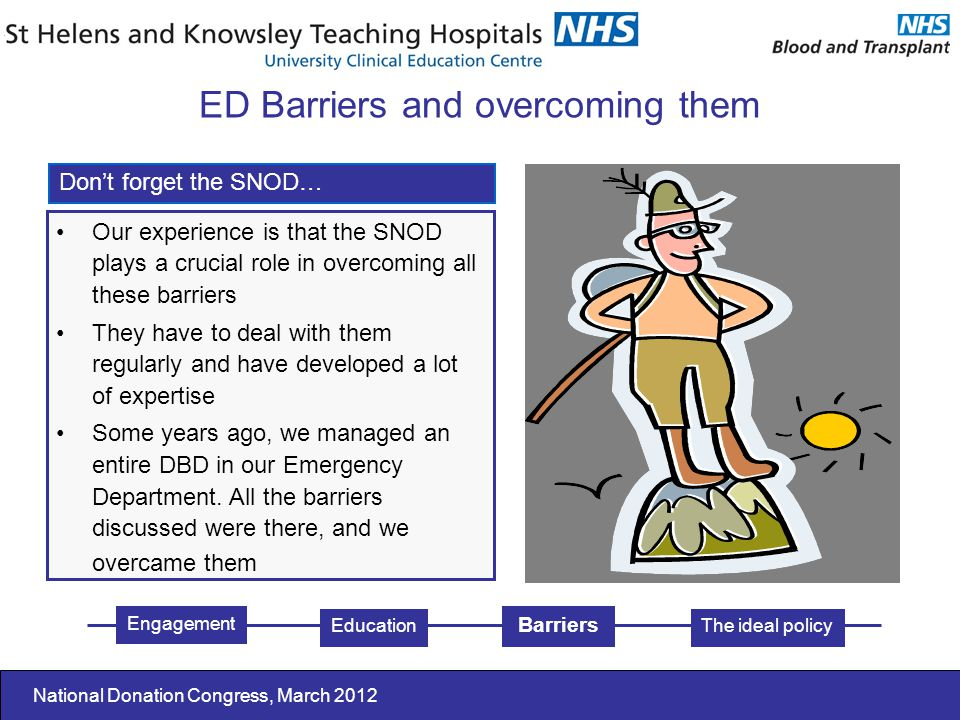 National Donation Congress, March 2012 Our experience is that the SNOD plays a crucial role in overcoming all these barriers They have to deal with them regularly and have developed a lot of expertise Some years ago, we managed an entire DBD in our Emergency Department.