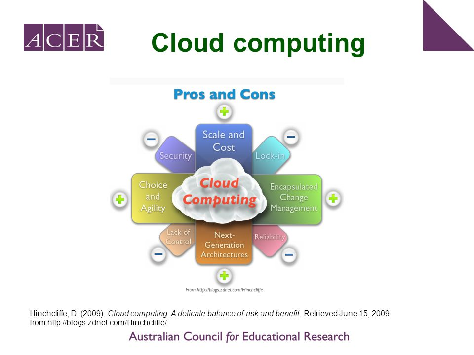 Cloud computing Hinchcliffe, D. (2009). Cloud computing: A delicate balance of risk and benefit. Retrieved June 15, 2009 from http://blogs.zdnet.com/H
