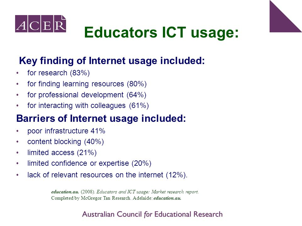 Educators ICT usage: Key finding of Internet usage included: for research (83%) for finding learning resources (80%) for professional development (64%